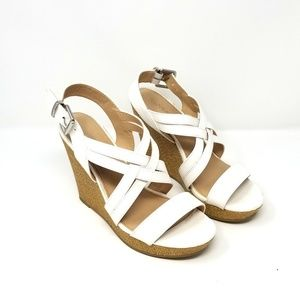 X Appeal White Wedge Shoes, sz 8